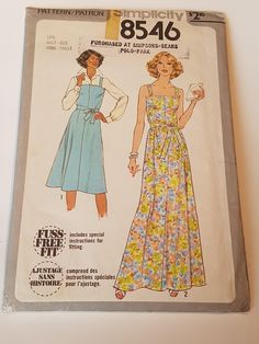 Vintage 1978 Simplicity 8546 sewing pattern Misses' Dress or Jumper in 2 Lengths and Tie Belt in size 14.5 by SewLongAndBeadWell on Etsy