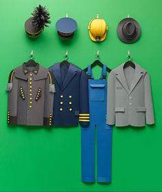 Uniforms 🛳🚚🚙🎩⛑! My paper art for Haniel @Haniel_News, photography by @ragnar_schmuck #paperart #papercraft #handmade #illustration #uniforms #job #builder #businessman #captain #miner #bergmann #hat #dungarees #suit