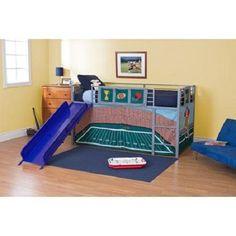 Kids Football Tent Twin Loft Slide Bunk Ladder Toddler Bed Bedroom Furniture Set