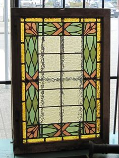 "Beautiful stained glass with great colour and stylization. Originally from the Court House in Vancouver, before it became the Art Gallery. Great piece of history. 24.5"" W by 35"" T"