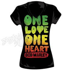 Bob Marley One Love One Heart Black T-Shirt - Women's #BobMarley #OneLove #Rasta