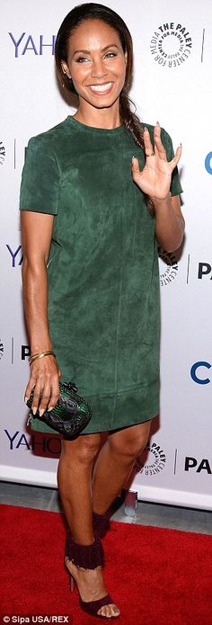 Jada Pinkett Smith is sexy in green suede dress at Gotham event #dailymail