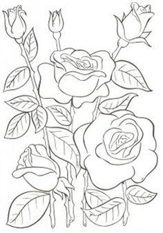Dibujos y Plantillas para imprimir: dibujos de flores para bordar                                                                                                                                                      Más