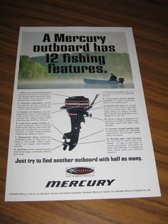 1968 Print Ad Mercury Outboard Motors 12 Fishing Features Man in Boat