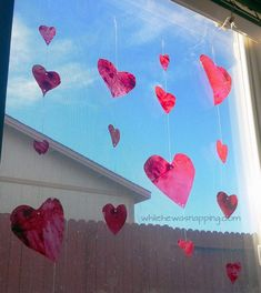 DON'T TOSS THOSE BROKEN CRAYONS! Repurpose them in this fun and simple project. Create Vertical 'Stained Glass' Heart (or whatever shapes you want) Garlands. A quick and colorful project to do with the kids! Outside Activities For Kids, Family Activities, Diy Craft Projects, Crafts For Kids, Diy Crafts, Felt Fish, Lacing Cards, Heart Garland, Finger Painting