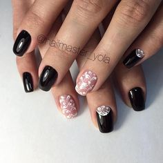 Attractive nails, Evening nails, Fashion nails 2016, Half moon patterned nails, Half-moon nails ideas, Luxury nails, Nails ideas 2016, Nails trends 2016
