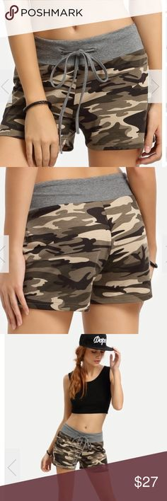 Camo drawstring shorts Coming soon! Pre-order item expected end of May. Pre-orders are discounted 10% for your patience. Adorable camouflage drawstring comfortable and stylish shorts. Polyester blend. Refer to size chart above for assistance. 🔥 please note these come directly from my distributor new without tags Shorts