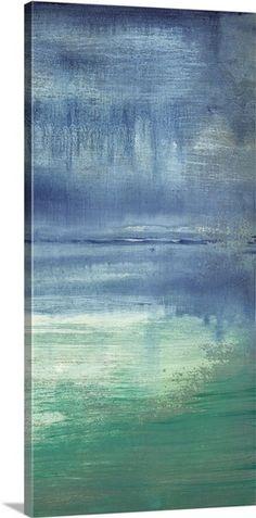 Large Sunset Still Lake Eggshell Blue Indian Canvas Wall Art Print
