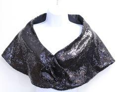 New With Flaws Ilana Women's Sequin Rosette Wrap Shawl Scarf Black M7001-F #Ilana #ShawlWrap
