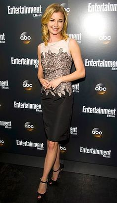 Emily VanCamp in a black, grey, and white Dior dress and Brian Atwood heels. An amazing look! #brianatwoodheelsdresses