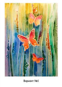 Мастер-класс по рисованию бабочки. Акварель с восковым мелком. Набрызг