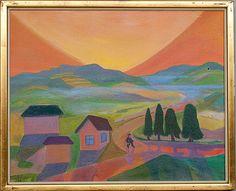 Tuomas Mäntynen: Auringonlasku, 1989, öljy kankaalle, 49x61 cm - Bukowskis Market 2013