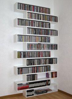 Dvd storage diy shelves libraries 22 ideas for 2019 Dvd Storage Units, Diy Dvd Storage, Movie Storage, Vinyl Storage, Storage Ideas, Modular Storage, Dvd Storage Solutions, Movie Organization, Book Storage