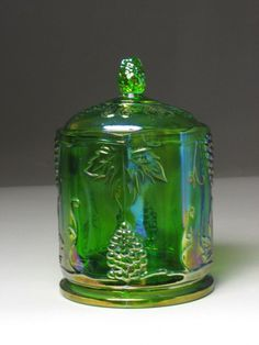 Vintage INDIANA Green Grape and Vine patterned iridescent Glass Candy Jar