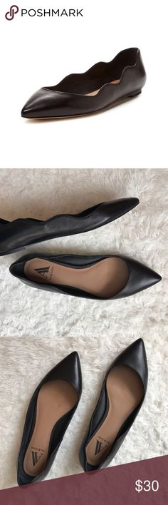 Ava & Aiden Black Scalloped Pointed Toe Flats Style is Ali. In good used condition - wear on outer sole. Pictures best reflect condition. Size 7.5M - runs true to size. Black real leather upper. Ava & Aiden Shoes Flats & Loafers