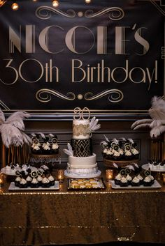 14 & Hudson Party, Piermont New York Paula Clemente Woods Event Designer  Roaring 20's/ Great Gatsby Party, Gold Sparkle Table Cloth, Dessert Table, Art Deco Party, Feather Centerpiece