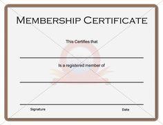 free membership certificate