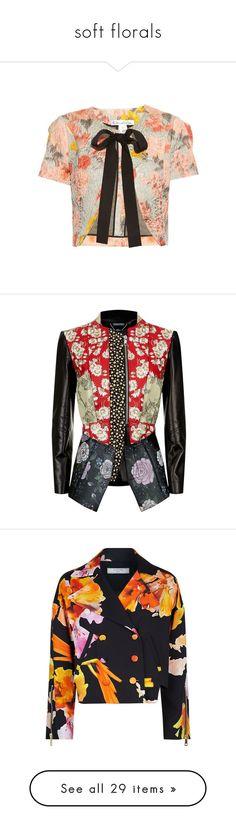 """soft florals"" by jeniferkcarsrud ❤ liked on Polyvore featuring outerwear, jackets, tops, crop tops, grey multi, cropped jacket, oscar de la renta jacket, oscar de la renta, pastel jacket and jacquard jacket"