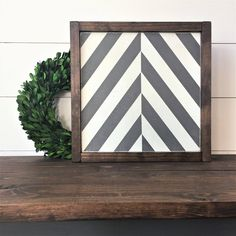 This fun little Herringbone sign could literally be hung in any room or the house, and is the perfect size to sit on a shelf as well. 12x12x1.5 Consider this for your playroom, kids room or bathroom, or for the kitchen or living room as part of a gallery wall. The Black and White sign is shown with a WALNUT frame. The Gray and White sign is shown with an ESPRESSO frame. This item is handmade right on the farm here in Idaho. Full of that farmhouse chic, Fixer-Upper style that were all…