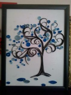 Quilled blue tree