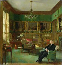 Otto Beit in his study at Belgrave Square, 1913, Sir William Orpen.  La-clef-des-cœurs