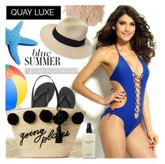 """""""QUAY LUXE"""" by gaby-mil ❤ liked on Polyvore featuring Eve Lom, Havaianas, Kate Spade, Bobbi Brown Cosmetics, Summer, bikini and quayluxe"""