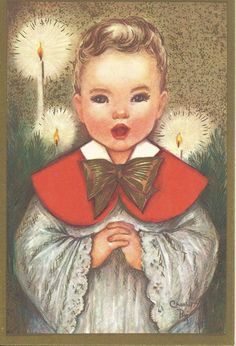 C278 Vintage Christmas Greeting Card by artist Charlot Byj Choir Boy. $5.00, via Etsy