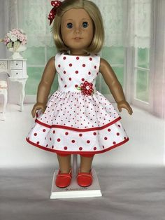 18 inch doll dress, leggings, and hair clip. Red and … - American Girl Dolls American Girl Outfits, American Girl Hairstyles, American Girl Crafts, American Doll Clothes, Ag Doll Clothes, American Girls, Dress Clothes, Barbie Mode, American Girl Accessories