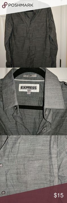 Express Men's Button Down Long-sleeve, button down dress shirt.  Military cut 100% cotton Asphalt gray color Front slit pockets are functional Express Shirts Casual Button Down Shirts