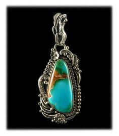 Fabulous Royston Turquoise Pendant in a Victorian design by John Hartman of Durango Colorado USA