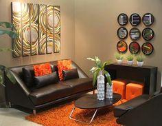 decoracion de sala en colores tierra