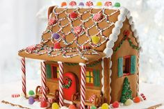 Gingerbread House Ideas Gingerbread House With A Candy Gingerbread House Kit Hacks You Need To Know Crazy For Crust Mini Gingerbread House How To Make A Gingerbread House Card For Christmas Free How To Make A Christmas Gingerbread House Allrecipes Rainbow Gingerbread House Template, Gingerbread House Designs, Gingerbread House Parties, Gingerbread Village, Christmas Gingerbread House, Christmas Fun, Christmas Cookies, Xmas, Gingerbread House Decorating Ideas