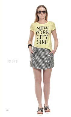 Pair a bright yellow top and a dotted skirt for a really cool and casual outfit!