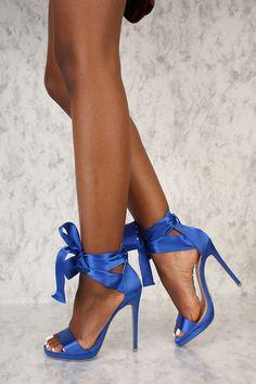 e1e6b08ec87f Sexy Royal Blue Satin Strappy Lace Tie Open Toe Single Sole High Heels