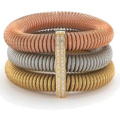Kai Tri-Color Stretch Bracelet with Diamond Station Name Jewelry, Heart Jewelry, Heart Bracelet, Bangle Bracelets, Gold Jewelry, Jewellery, Jewelry Showcases, Stainless Steel Jewelry, Colorful Bracelets