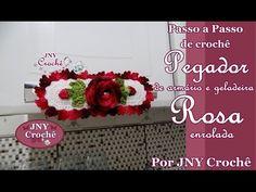 PAP Pegador de armário e geladeira Rosa enrolada por JNY Crochê - YouTube