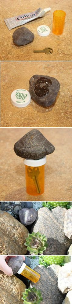 DIY Pill Bottle Projects | Hidden Key Storage Idea by DIY Ready at http://diyready.com/15-awesome-diy-uses-for-pill-bottles/