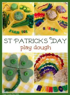 St patrick's day play dough - lots of ideas for colourful play activities