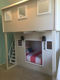Playhouse Bed with Stairs and a Slide by SkywriterCreations