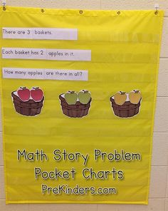 Here's a preschool-friendly way to do math story problems with kids. Here are two Fall-themed math story problems you can print and cut to use in your pocket chart. Preschool Math, Math Classroom, Kindergarten Math, Teaching Math, Math Activities, Preschool Apples, Future Classroom, Preschool Ideas, Teaching Tools