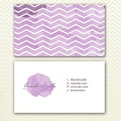 Chevron Business Card Design Purple Chevron by TheMinimalStudio