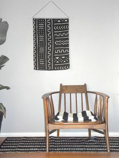 Large Mud Cloth Wall Hanging . Geometric Woven by GeometricInk