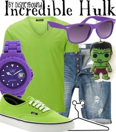 summer concert: Incredible Hulk (Avengers) not really Disney but eh, it's cute Marvel Fashion, Mens Fashion, Disney Fashion, Kids Outfits, Cool Outfits, Male Outfits, Spring Outfits, Movie Inspired Outfits, Themed Outfits