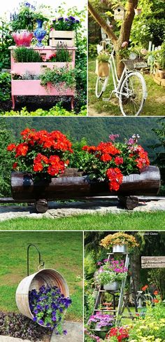 MENTŐÖTLET - kreáció, újrahasznosítás: Virágos kert Garden Fence Paint, Front Yard Garden Design, Garden Yard Ideas, Diy Garden Projects, Garden Crafts, Diy Garden Decor, Garden Pots, Cheap Landscaping Ideas, Backyard Landscaping