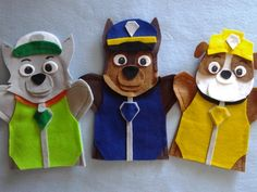 Paw Patrol felt hand Puppets by puppetmaker, Puppets