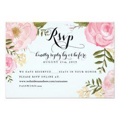 Modern Vintage Pink Floral Wedding Online RSVP Invites