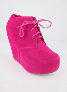 lace-up bootie wedge at gojane.com $27.50 #shoes #wedges #fuchsia