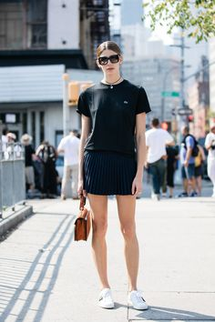 Street style at Fashion Week spring-summer 2017 New York sporty