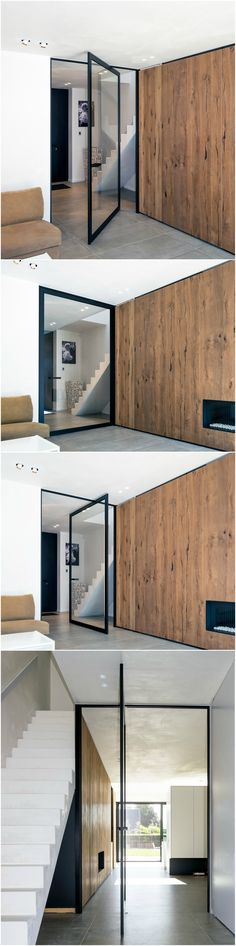 "Modern glass pivot door, made-to-measure by Belgian brand Anyway Doors. This unique ""steel look"" pivoting door with offset axis pivot hinges doesn't require any parts to be built-in to the floor. #pivotdoor #anywaydoors"