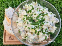 Sałatka imprezowa brokułowo - pieczarkowa - Swojskie jedzonko Tzatziki, Feta, Potato Salad, Potatoes, Cheese, Ethnic Recipes, Carving, Kitchens, Recipies